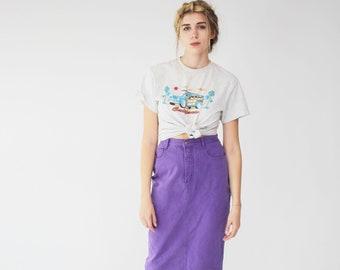 Purple Jean Skirt - Denim, High Waisted, Vintage, Grunge, Midi Length, Baccini