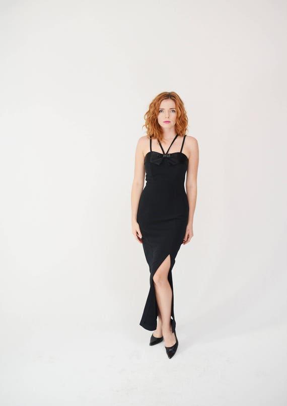 93904317b0a Vintage 90s Body Con Dress - Pretty Woman, Little Black Dress, Maxi, Fancy,  Formal, Prom
