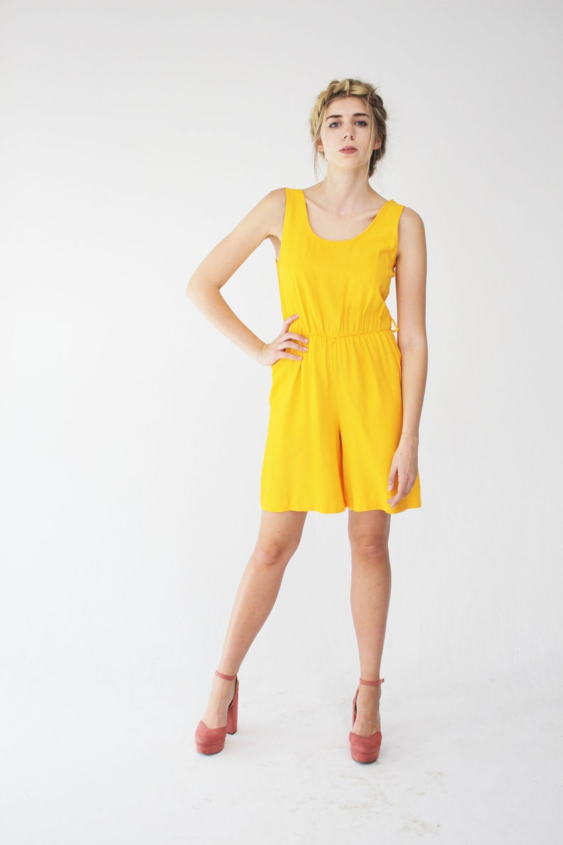 Music Festival Yellow Vintage Romper Summer Jumpsuit 90s Tall