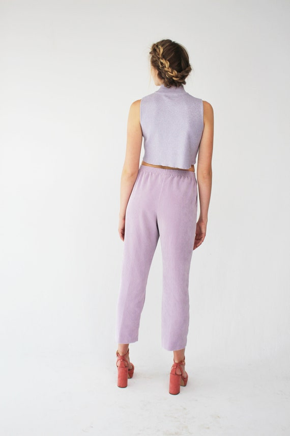 Pockets Trousers Light Corduroy 90s Vintage Lilac Pants Purple High Waisted
