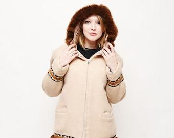 Vintage Hudson's Bay Coat - Winter, Jacket, Creme, Aztec, The Bay, Medium, Hood, Boho, 70s