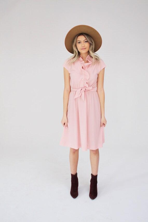 Pink Polyester Dress - 70s, Boho, Music Festival,