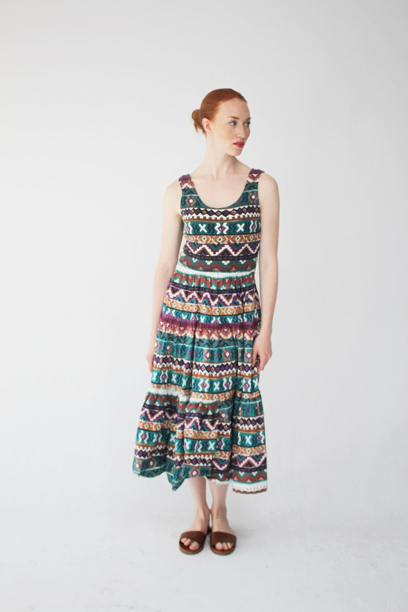 992dcd828d2 Aztèque été des années 90 Vintage robe Maxi Boho Music