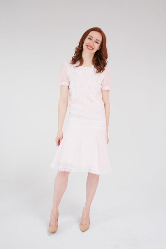 Gunne Sax Pastel Pink Dress - 20s Inspo, 80s dress
