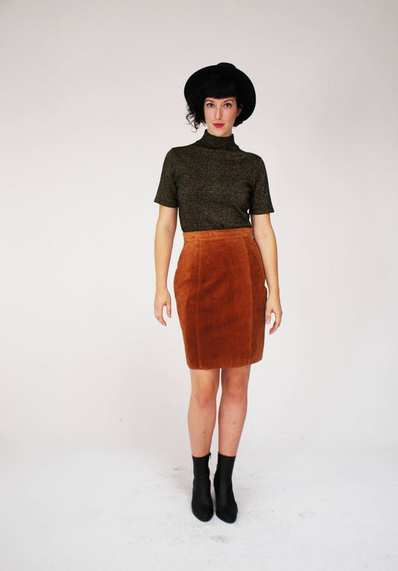86fce3579c81f Brune haut jupe en daim Vintage Pelle Cuir cuir moyen   Etsy