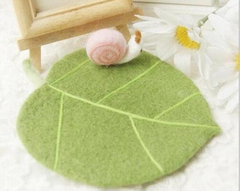 Sales Handmade Felted Wool Coaster-Leaf and Snail
