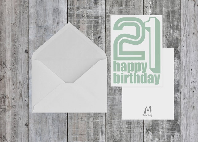 21st Birthday Card BLANK INSIDE For Her Him Birthdays