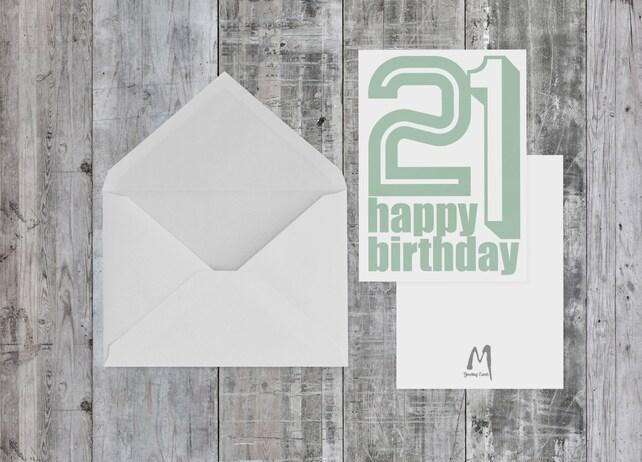 21st Birthday Card BLANK INSIDE For Her Him Birthdays Greeting