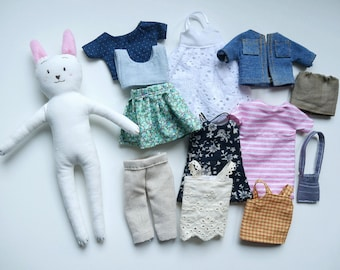 Handmade bunny rabit doll and 12pcs removable clothes, stuffed cotton bunny rabit doll and accessaries
