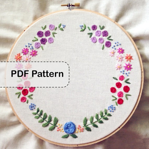 Floral Wreath Embroidery Pattern Pdf Etsy