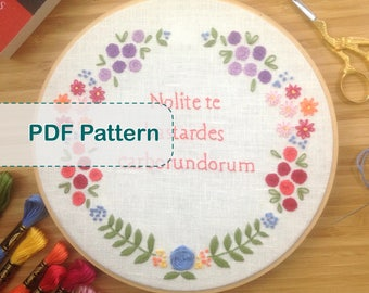 Handmaid's Tale Floral Wreath Embroidery Pattern