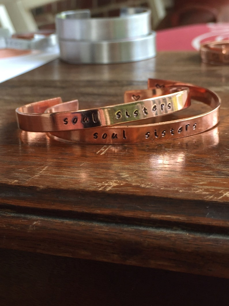 Soul Sisters Matching Set Distressed Cuff Bracelet Personalized Jewelry Hand Stamped 14 Copper Smooth Organic Texture