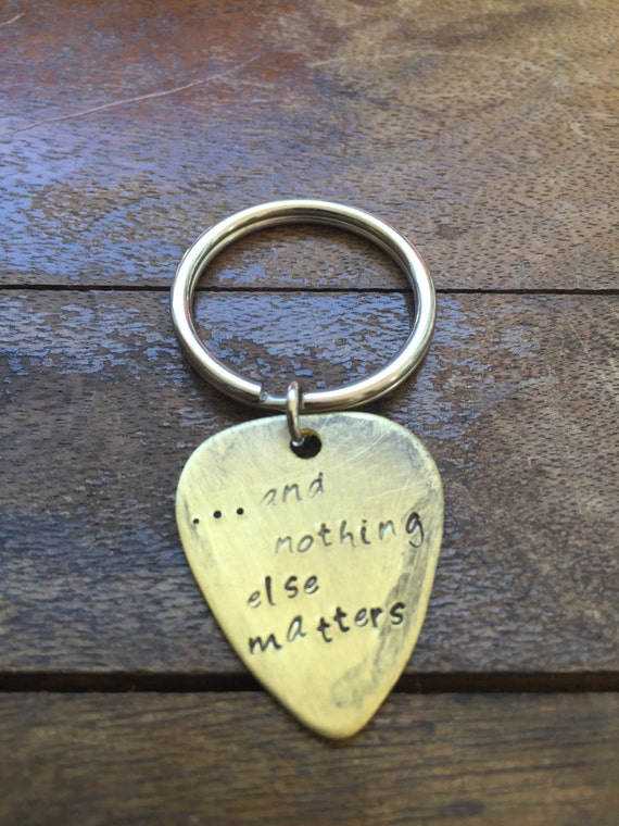 Antique Distressed Brass Guitar Pick Hand Stamped And Nothing Else Matters