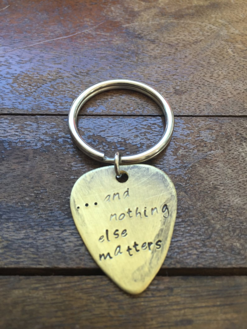 Antique Distressed Brass Guitar Pick Hand Stamped Personalized Keychain Keyring And Nothing Else Matters