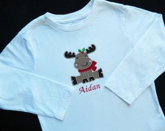 Boys reindeer shirt. Christmas onesie/shirt for boys