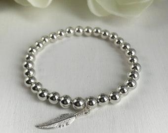 Women's Beaded Bracelet - 6mm Sterling Silver Bead Bracelet with 925 feather charm