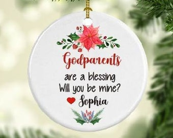 personalized godparents proposal ornament godparents christmas gift ornament baptism ornament will you be my godparents
