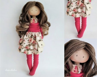 Art doll. Rag doll. Fabric doll. Tilda doll. Textile doll.Handmade doll. Interior doll. Dolls. Birthday. Dolls ElenShudra. Pink doll.