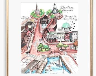 Downtown Annapolis | Annapolis Illustrations | Maryland Art | Annapolis | Historic Capitol Map | City Print | City Wall Art