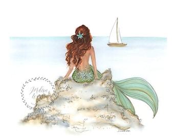 3bf30ad7b5b Mermaid wall art   Etsy