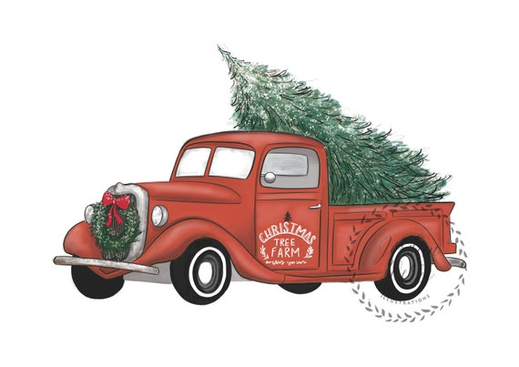 Christmas Tree Farm Truck Christmas Truck Red Truck Etsy
