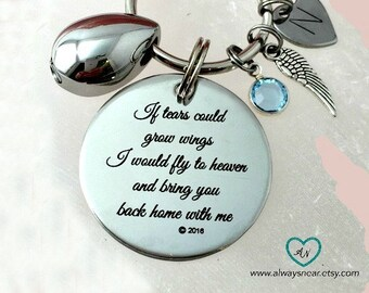 Cremation urn jewelry / Tears cremation urn keychain / If tears could build / Memorial keychain / Teardrop cremation ashes / Wings urn