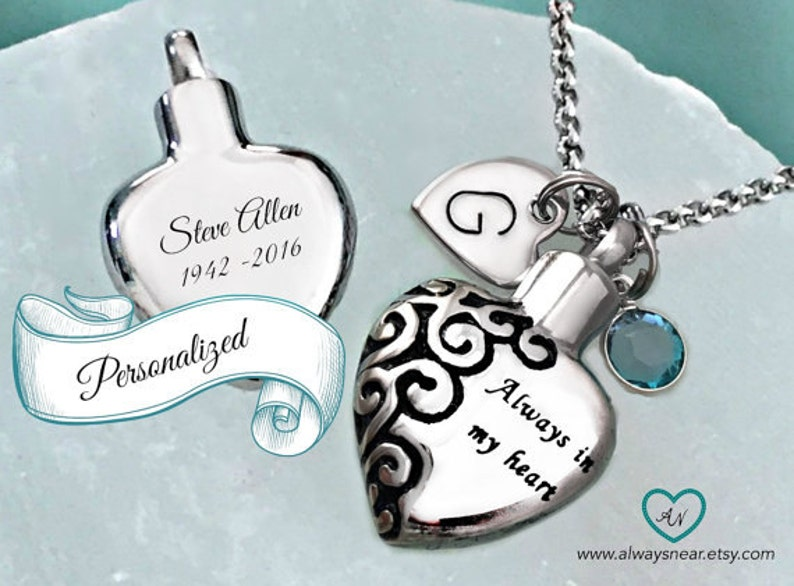 0ce83a4aaab92 Heart urn pendant • Cremation jewelry • Ashes necklace • Cremation necklace  • Memorial Urn • personalized urn • always in my heart ...