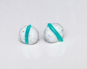 Pastel Grey Sea Green Post Earrings Geometric Jewelry Tiny Polymer Clay Stud Earrings Aqua Blue Decoration Turquoise Stick Lightweight Posts