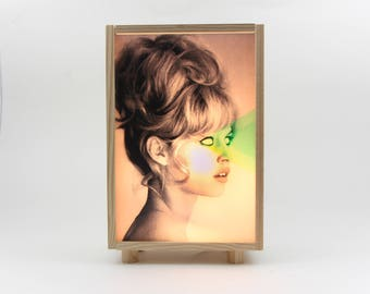Brigitte bardot light box, led lamp, night light, brigitte bardot collage, bedside table lamp, lightbox, led lamp, wooden light box. #Bardot