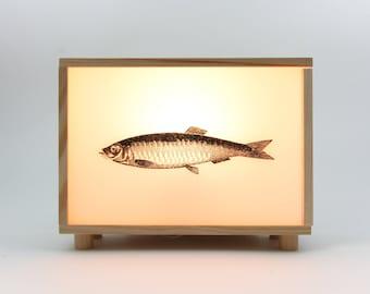 Light box, lightbox, fish, wooden light box, led lamp, lighted sign, bedside table lamp, night light, pinewood, collage, dorm decor, #SEA
