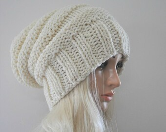 Cream knit hat woman, Chunky knit hat, Winter hat, Slouch beanie, Hand knit slouch hat, Wool beanie hat,Slouchy beanie woman, gift woman.