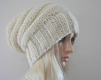 Wool hat, Handmade knit hat. Chunky knit hat, Cream beanie, Womans slouchy beanie, Merino wool beanie, Ladies hat, Slouch beanie, 13 colours