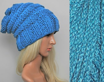 Chunky knit beanie, winter hat, womans knit beanie, hand knit beanie hat, Bamboo Slouchy beanie, Slouch hat, Chunky beanie, Slouch beanie,