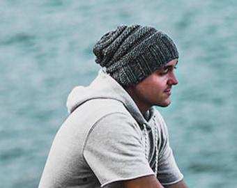 Mens beanie, Mens beanie hat, Mens slouchy beanie, Mens hats, Gifts for him, Hand knit hat, Mens slouchy beanie, Beanie hat,Wool hat