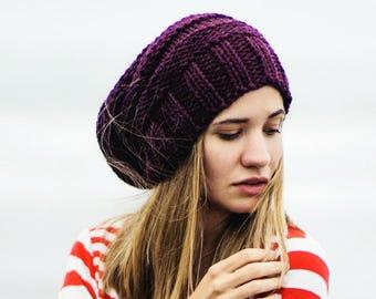 knit slouchy hat woman, Knit slouch beanie hat, Chunky knit beanie slouchy, Grey beanie, Slouchy beanie women wool hat, Slouch hat.