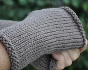 Brown fingerless gloves, Texting mitts, Australian Merino Wool fingerless mitts, 9 colours to choose from