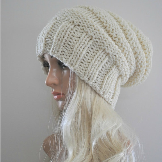 2a7856b85d0 Cream knit hat woman Chunky knit hat Winter hat Slouch