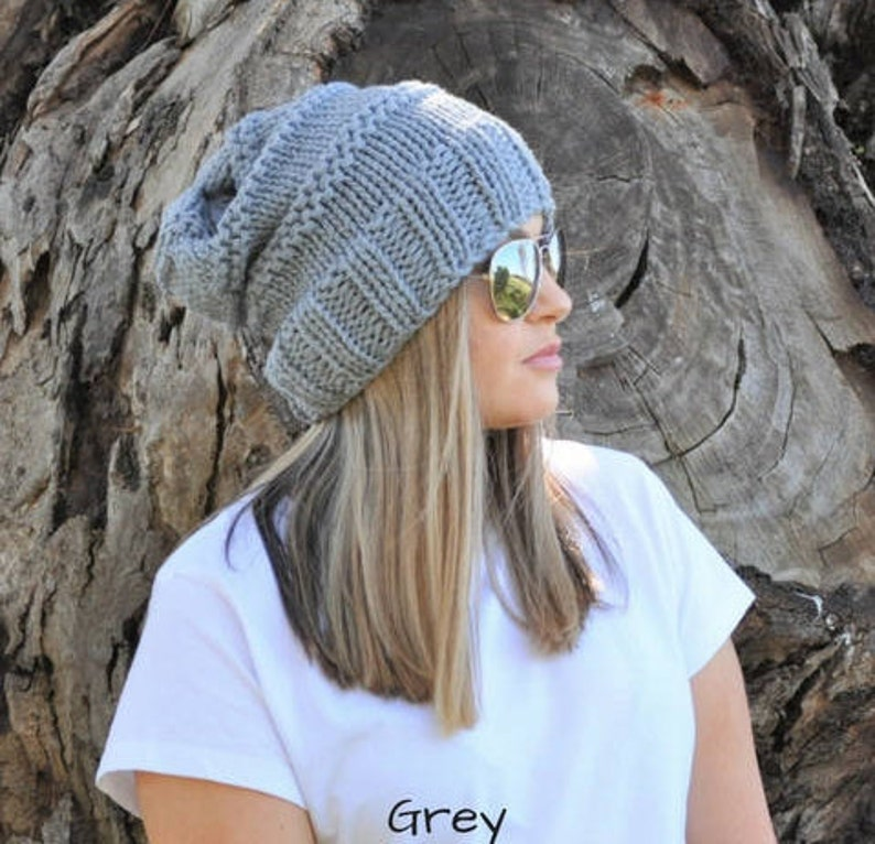 c6c896c48e0 Grey Slouchy beanie. Grey slouch beanie Slouch hat wool hat