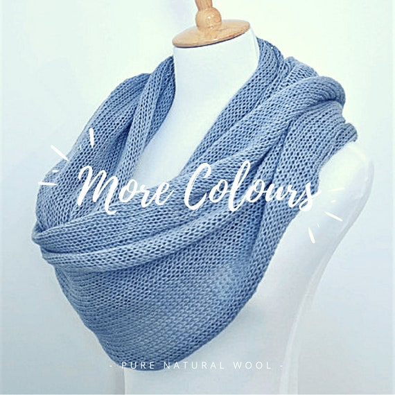 Grey Lightweight Scarf Summer Scarf Knitted Infinity Scarf
