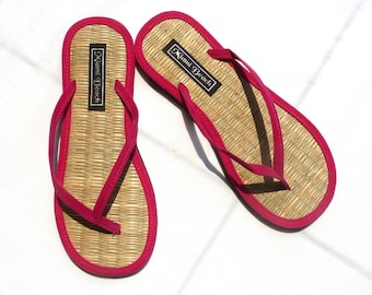 50a091dd80e38 Rice straw flip flops with pink velvet thongs