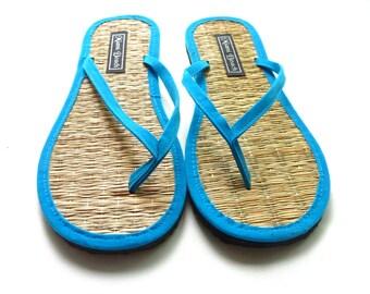 1b25d16e3 Rice straw flip flops with turquoise velvet thongs