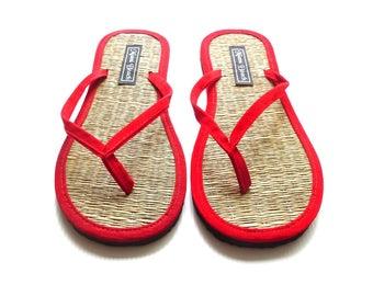 a9b51d68c Rice straw flip flops with red velvet thongs