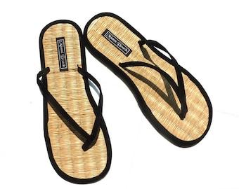 Rice straw flip flops with black velvet thongs (new)