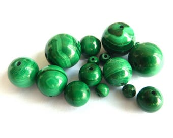 Pearl malachite Ø 14 mm PF01800 has unit gem stone semi precious