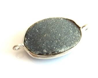 Spacer bead 925 Silver and drusy quartz gray 17 x 13 x 4 PAR030G