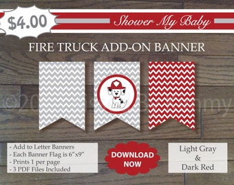 Red And Black Fire Dog Add On Banner 60 Off Printable Baby Etsy
