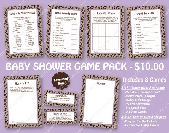 Leopard Purple Baby Shower Game Pack 80 Off Printable Baby Etsy