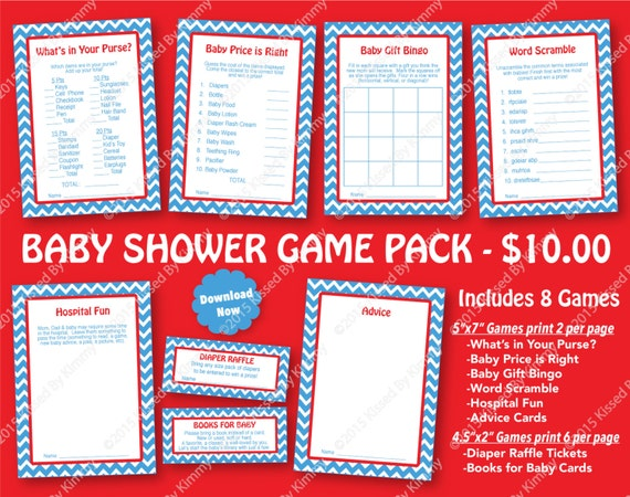 Blue And Red Baby Shower Game Pack 70 Off Printable Boy Etsy