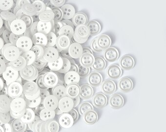 10 NEW WHITE BUBBLE FLOWER 2 HOLE PLASTIC ITALIAN BUTTONS  23mm SIZE