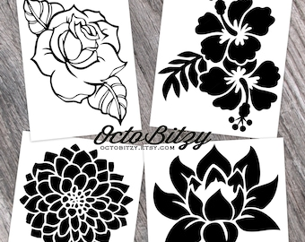 b293e19f8 Rose, Hibiscus, Dahlia, Lotus, Flower, Floral Decal Sticker